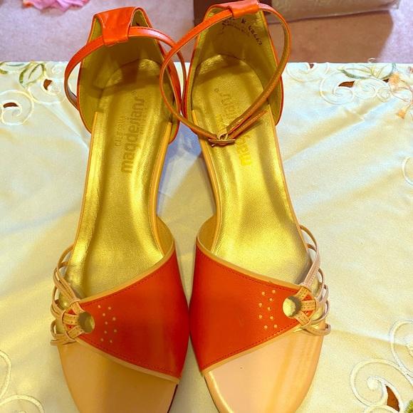 Peach Orange Designer Sandals Size 11